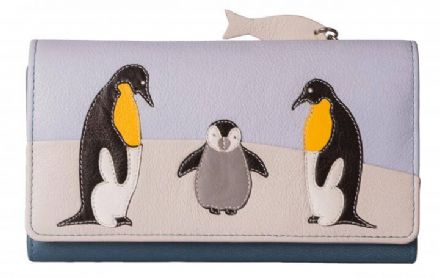 Leather Ollie Penguin Family Purse includes RFID